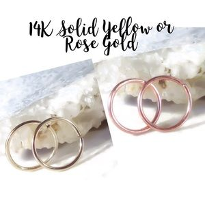 Set of 2 14K Solid Yellow/Rose Gold Sleeper Hoops